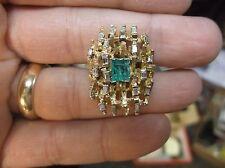 "LARGE VTG HANDCRAFTED 14K YELLOW GOLD, EMERALD & DIAMOND LADIES ""LATTICE"" RING"