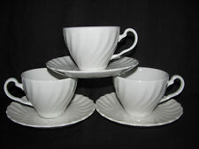 Johnson Brothers Snowhite Regency Set of 3 Cups and 3 Saucers