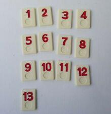Rummikub Replacement Tiles 1-13 Red Number Tiles Vintage Pressman 1980 1985