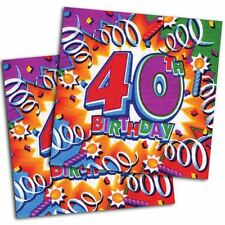 16 Celebration Explosion 40th Birthday Party Disposable 6.5in Paper Napkins