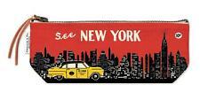 Cavallini - 100% Coton Naturel Vintage Mini Sac Pochette 10x23cm-New York