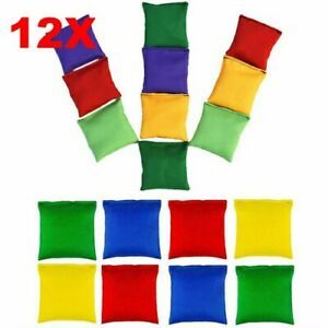 12 Sports Bean Bags Throwing Kids Garden Games Juggling Beanbag Colour Polyester