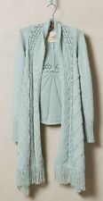 NIP Anthropologie ANGEL OF NORTH Anais Cardigan Sweater Sapphire Cable Fringe M