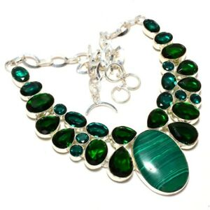 """Russian Malachite & Chrome Diopside 925 Sterling Silver Necklace 17.99"""" N724-179"""