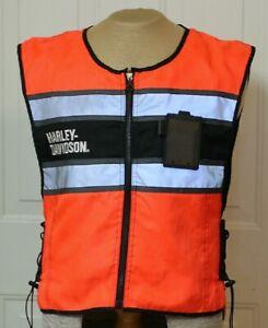 Harley-Davidson Men's Hi-Vis Vest Sz L Orange 98172-08VM Reflective Safety Used