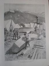 Boat building at lake Lindeman by Julius M Price 1898 old print