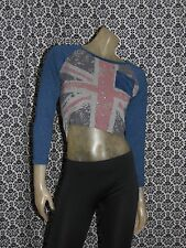 No Label Blue & Gray British Flag Crop Top Shirt Blouse Womens LARGE USED