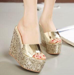 Fashion Women Wedge Shiny Glitter Slipper Platform High Heels Sandals Peep Shoes
