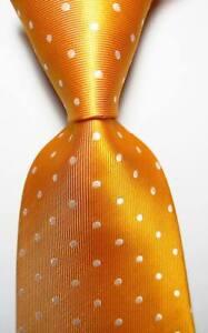 New Classic Polka Dot Yellow White JACQUARD WOVEN Silk Men's Tie Necktie