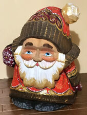 Russian Hand Carved & Hand Painted Wood Santa Claus ~ Signed