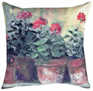 """PILLOWS - RED GERANIUMS INDOOR OUTDOOR PILLOW - 18"""" SQUARE -  FLORAL DECOR"""