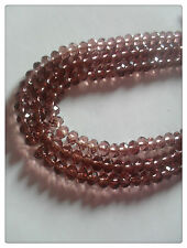 50 x Faceted Glass Rondelle Beads - 6mm x 4mm - Dusty Rose