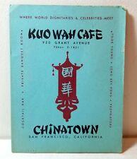 1950s Kuo Wah Cafe menu, Chinatown, San Francisco, California
