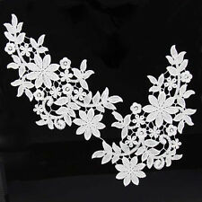 1 Pair Off-white Venise Embroidery Motif Flower Lace Trim Sew On Applique Craft