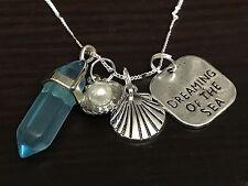 "Dream of the Sea Blue Hexagon Beach Oyster Charm Tibetan Silver 18"" Necklace R15"