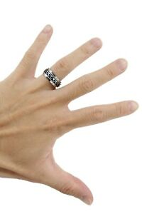 Wave Spinner Band Ring - Rhodium Plated Brass, 8mm Thick - Island Style, Unisex