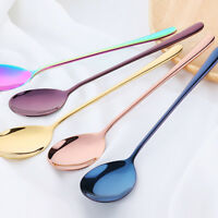 Rainbow Stainless Steel Dessert Coffee Soup Stir Spoon Long Tableware Teaspoon