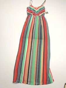Ruby Rox Womens Size 5 Dress Maxi Multicolor Green Red Vertical Stripes NWT