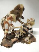 SELDOM SEEN VINTAGE PAIR OF HOPI INDIAN KACHINAS IN SCENE - OGRE ATTACKS KOSHARE