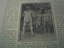magazine picture 1930s -pigmies of the malay peninsula