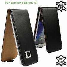 Flip Case Samsung Galaxy S7 Echt Leder schwarz Schutz Hülle Etui Handy Tasche