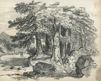 CONTINENTAL LAKE & TREES Pencil Drawing - 1833 - 19TH CENTURY - GRAND TOUR