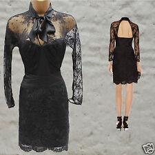 Karen Millen Black Lace Applique Long Sleeve Cocktail Elite Festive Dress 12 UK
