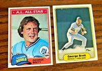 George Brett Topps 1981 #700 and 1982 Fleer #405 - Royals HOF