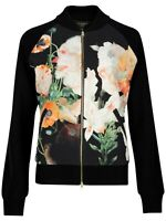 Ted Baker Opulent Bloom Wool Bomber Jacket Floral Black Full Zip NEW $325