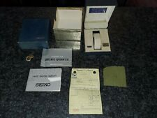 Vintage 70s SEIKO Mens Watch Box & Blue Case With Booklets & Hangtag