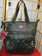 Juicy Couture Shimmery Black Tote & Key Chain Holds Laptop NWOT