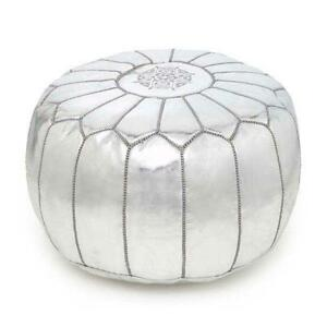 MOROCCAN SILVER FAUX LEATHER HAND STITCHED POUFFE