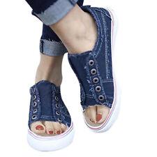 UK Womens Ladies Denim Canvas Loafers Pumps Slip On Flat Sneakers Shoes