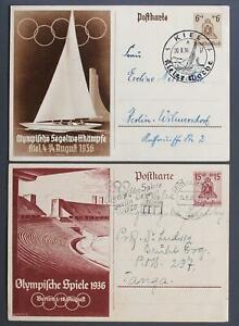 GERMANY to TANGANYIKA+ 1936 OLYMPICS, Special Picture PSC Cards BERLIN to.. LOOK