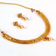 Indian Bollywood Copper Necklace Wedding Gold Plated Fashion Imitation Jewelry