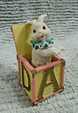 Springy White Rabbit Alphabet Block Box Hand Painted Poly-resin Figurine Free Sh