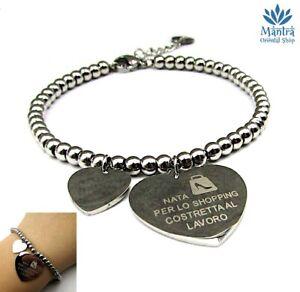 Bracciale donna in acciaio inox braccialetto scritta a perle sfere cuore da con