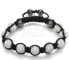 3pcs/lot 10mm white micro pave Disco Ball Crystal Shamballa Bead bracelet