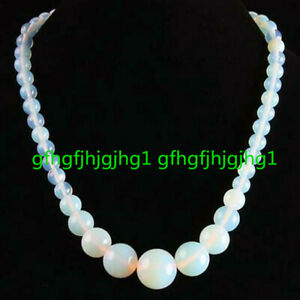 Beautiful Handmade Fire Opal Opalite Gemstone Round Beads Necklace 18''