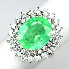EMERALD GREEN OVAL 8.70 CT.SAPPHIRE 925 STERLING SILVER RING SZ 6.75 GIFT WOMEN