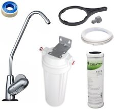 "Carbon Water Filter 0.5 Mic | Under Bench Sink Housing Kit + Fin Tap / 10"" x 2"""