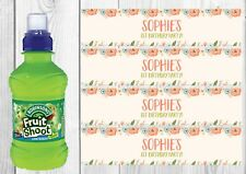 6 Orange Floral, Personalised Fruit Shoot Bottle Wrappers Party Favour