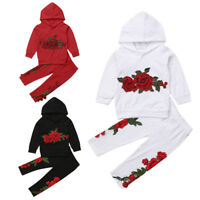 NWT Embroidery Toddler Baby Girl Hoodies Top Pants Outfits Clothes Tracksuit USA