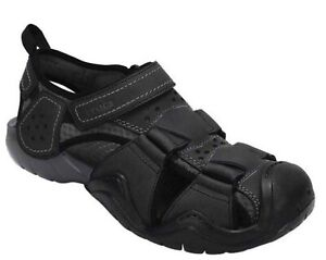 Men's size 12 CROCS Swiftwater Fisherman Leather Black Sandals