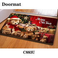 Christmas Doormat Area Rug Shower Anti-slip Mat Carpet Indoor Kitchen Red Party