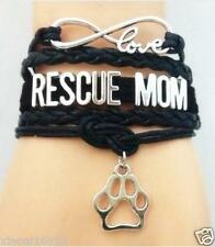 Infinity Love RESCUE MOM Dog Paw Print Pets Charms Leather Braided bracelet Hot