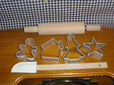 Miniature Baking Set Rolling Pin,Spaula,Cookie Cutters, Actually Use! Wood & Met