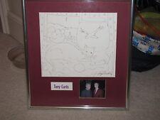 """TONY CURTIS Original Pen Drawing Signed 10""""x11.5"""" Framed Still Life"""