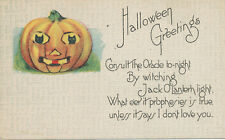 Halloween PC ca. 1910 * JOL with Black Cat Eyes  Oracle Prophesy