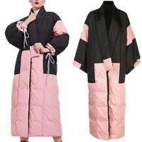 Japanische Daunenmantel Damen Extra Lang Winter Verdicken Schnee Kimono Mantel L